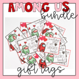Among Us Valentine's Day Cards Gift Tags from Teacher BUNDLE