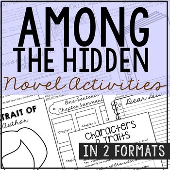 Among the Hidden Novel Unit Activities, Includes Interactive Notebook Format