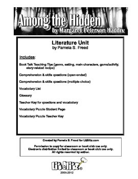 Among the Hidden Literature Unit or Book Club selection