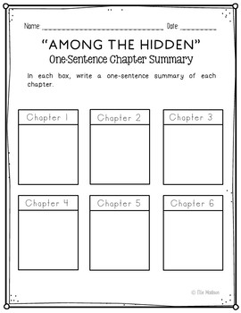 Among the Hidden Novel Unit Study Activities, Book Companion Worksheets, Project