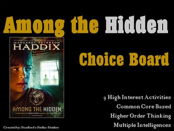 Among the Hidden Shadow Children Choice Board Tic Tac Toe Novel Activities
