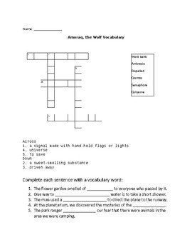 Amoraq, the Wolf Spelling and Vocabulary puzzles Open Court 6th grade