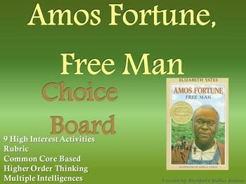 Amos Fortune, Free Man Choice Board Novel Study Activities Menu Book Project