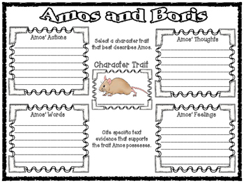 Amos and Boris by William Steig Character Trait Graphic Organizers