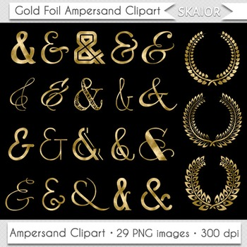 Ampersand Clipart Gold Foil Laurel Clipart Wedding Invitations Valentines Day