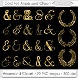 Ampersand Clipart Gold Foil Laurel Clipart Wedding Invitat