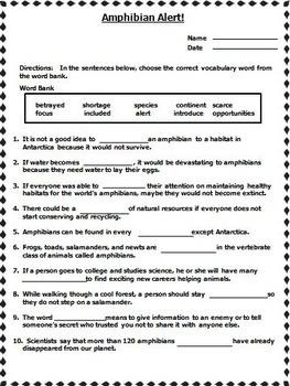 Amphibian Alert! Journeys 4th Grade Unit 6 Lesson 27 Activities and Printables