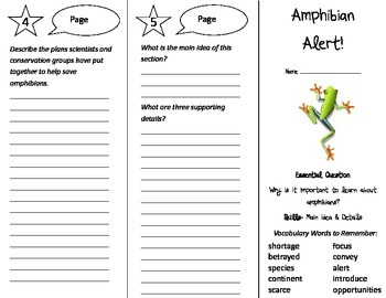 Amphibian Alert! Trifold - Journeys 4th Grade Unit 6 Week 2 (2014, 2017)