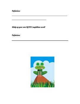 Amphibian Rivet Vocabulary Activity