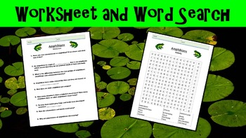Amphibians Lesson with Power Point, Worksheet, and Word Search