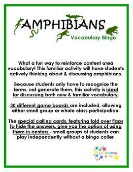Amphibians Vocabulary Bingo