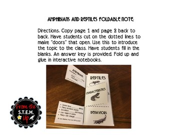 Amphibians and Reptiles Foldable Note