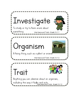 Amplify Science Curriculum: Grade 3, Unit 2 Inheritance &Traits Vocabulary Words