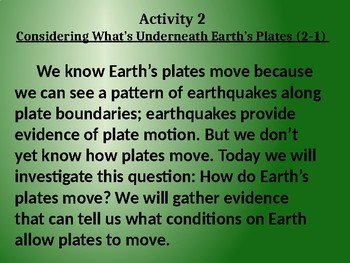 Amplify Science Plate Motion: Lesson 2-1 (Considering What's Underneath.....)