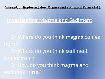 Amplify Science Rock Transformations: Lesson 2-1 (Exploring How Magma and Sed..)