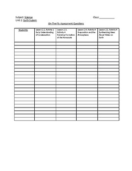Amplify Science Unit 3 Chapter 2 On-the-Fly Checklist