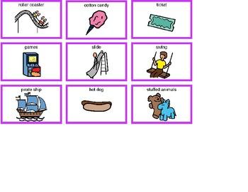 Amusement Park Bingo! Single Board [speech therapy and autism]