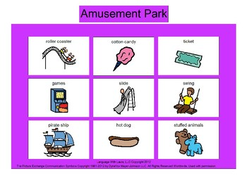 Amusement Park Bingo! [speech therapy and autism]