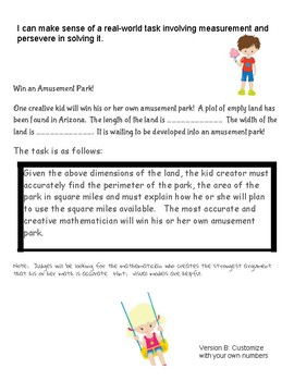Amusement Park Contest:  A Mathematical Task Involving Area and Perimeter