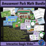 Amusement Park Math Bundle: Map Skills, Addition, Subtraction, Time & Money