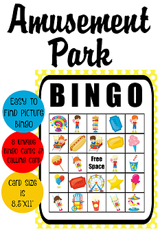 Amusement Park Picture BINGO Game