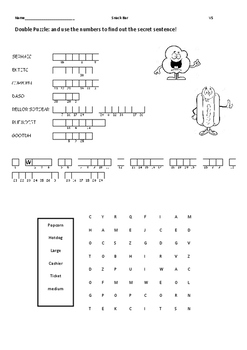 Amusement Park and Snack Bar vocab review worksheet