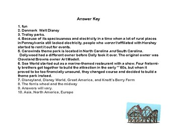 Reading-Amusement Parks- Read and Write The Room- Grades 4-7
