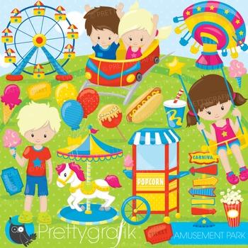 Amusement park clipart commercial use, graphics, digital clip art, fair - CL866