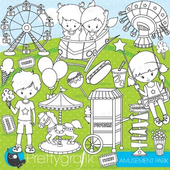 Amusement park stamps commercial use, vector graphics, ima