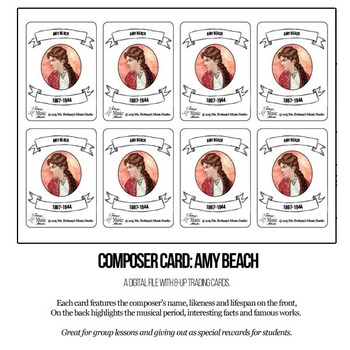 Amy Beach Composer Trading Card