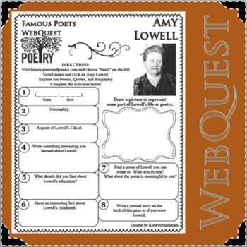 Amy Lowell - WEBQUEST for Poetry - Famous Poet