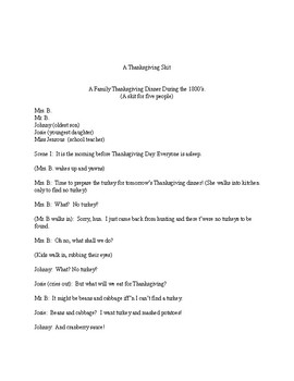 An 1800's Family Thanksgiving:  A Skit for Five People