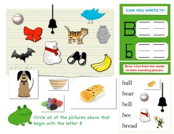 First Sound Fluency - Literacy RTI letter B or Buh - Phonemic Awareness ESL SPED