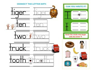 First Sound Fluency - interactive booklet for letter T or Tuh - PK K 1st SPED ES