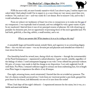 "An Abridged Version of Poe's ""The Black Cat"" with Audio and Discussion Questions"
