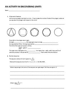 An Activity in discovering Limits (Calculus) Geometric and