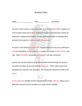 An Actor's Voice Worksheet