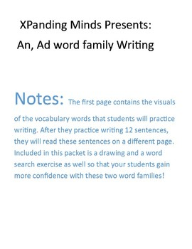 An, Ad word family writing practice