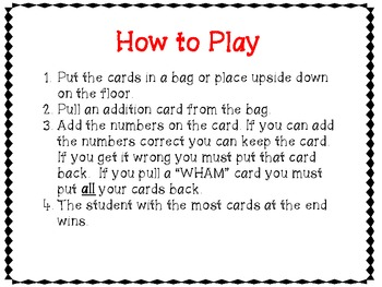 An Addition Game- WHAM!