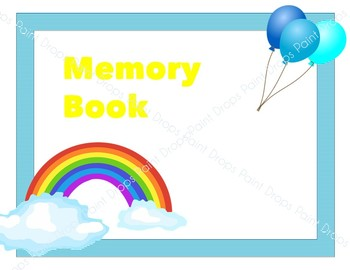 An Adorable Memory Book Cover with Rainbow and Balloon {Editable)