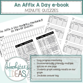 An Affix A Day eBook- 85 affixes- CCSS aligned MINUTE QUIZZES