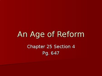 An Age of Reform World History Power Point