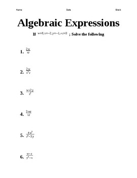 An Algebra 1 Review Booklet.