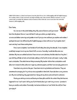 An Alien's Letter to Santa: Context Clues Practice Activity