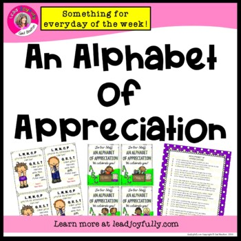 An Alphabet of Appreciation to Share with Your Staff (ALPHABET THEME)