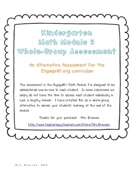 An Alternative Assessment for the EngageNY Kindergarten Math Module 3