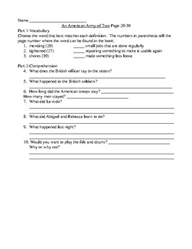 An American Army of Two Comprehension and Vocabulary Packet