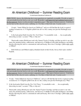 An American Childhood Exam