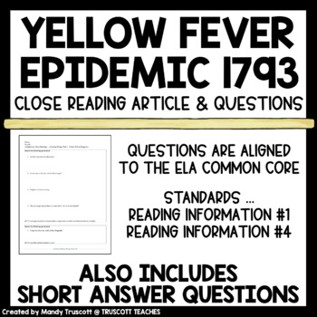 An American Plague (by Jim Murphy) Close Reading; Fever 1793 Supplement