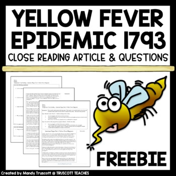 FREE An American Plague (by Jim Murphy) Close Reading; Fever 1793 Supplement